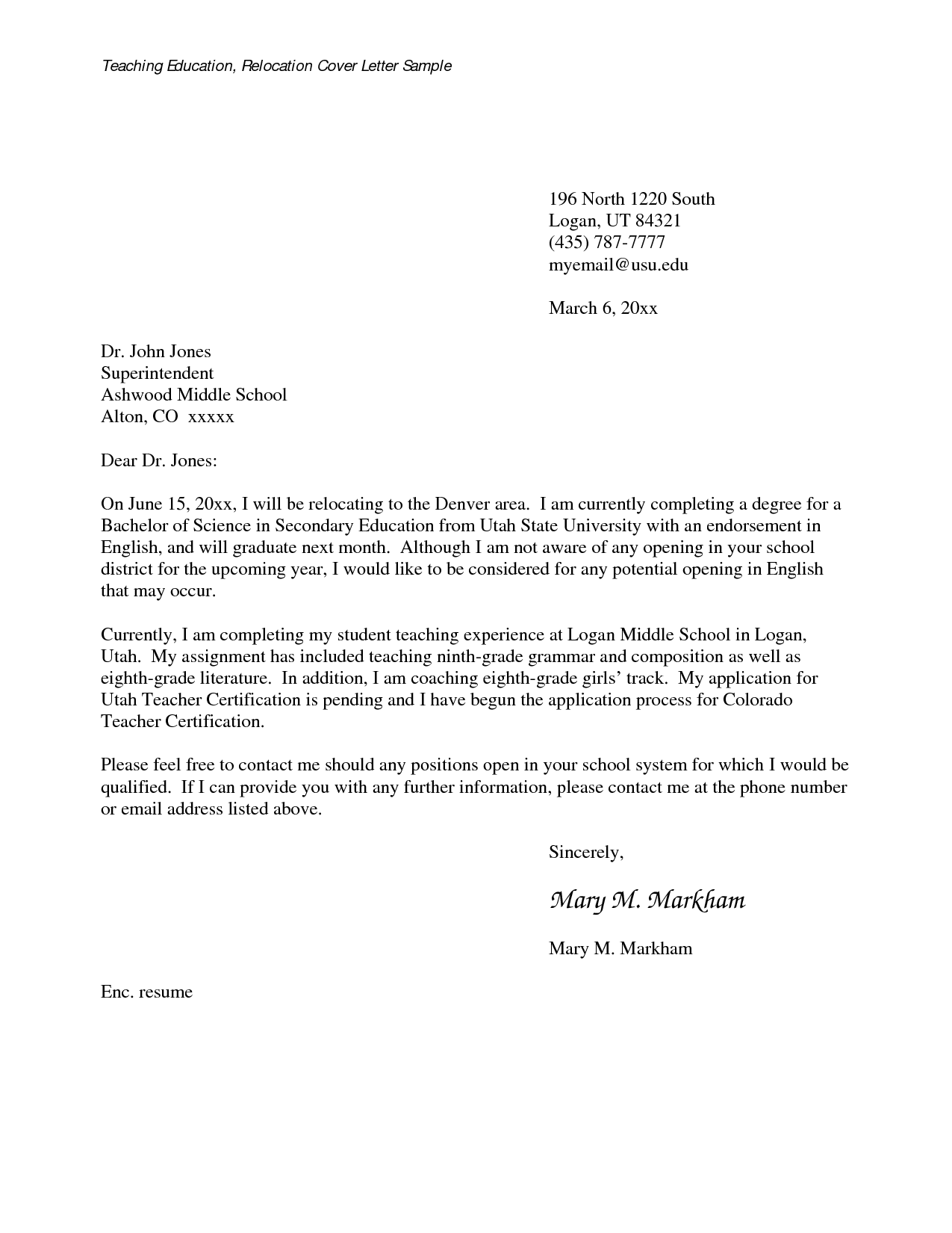 Letters For Teachers Relocating MedwebcomRelocation Cover Letter Examples