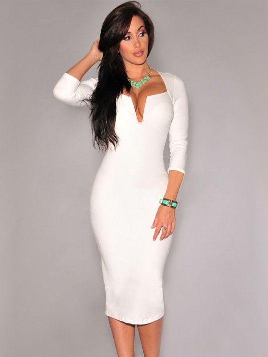 a1a89bb128 Vestido Blanco de Manga Larga MS1411
