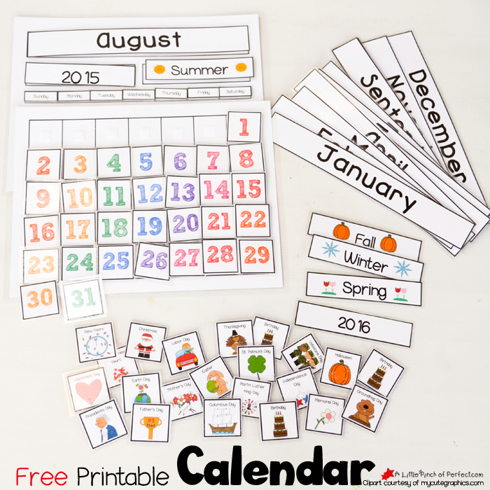 graphic relating to Printable Classroom Calendar called Lovable Cost-free Printable Calendar for Circle Season with Children