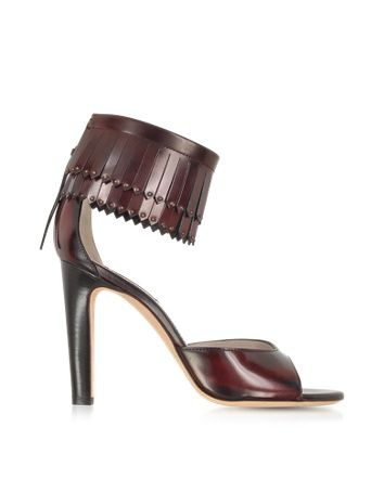 Marc Jacobs Burgundy Leather Fringed Sandals | Shoes and Footwear