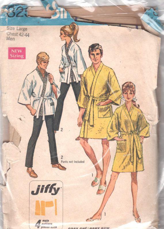Happi Coat Patterns : happi, patterns, 1960s, Simplicity, Jiffy, Kimono, Happi, Sewing, Patterns,, Classic