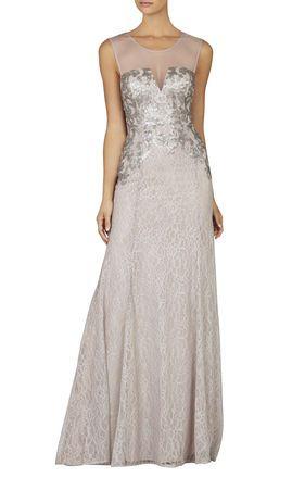 Silver White Gray Julea Sleeveless Sequin Mesh Top Gown Bcbg 325