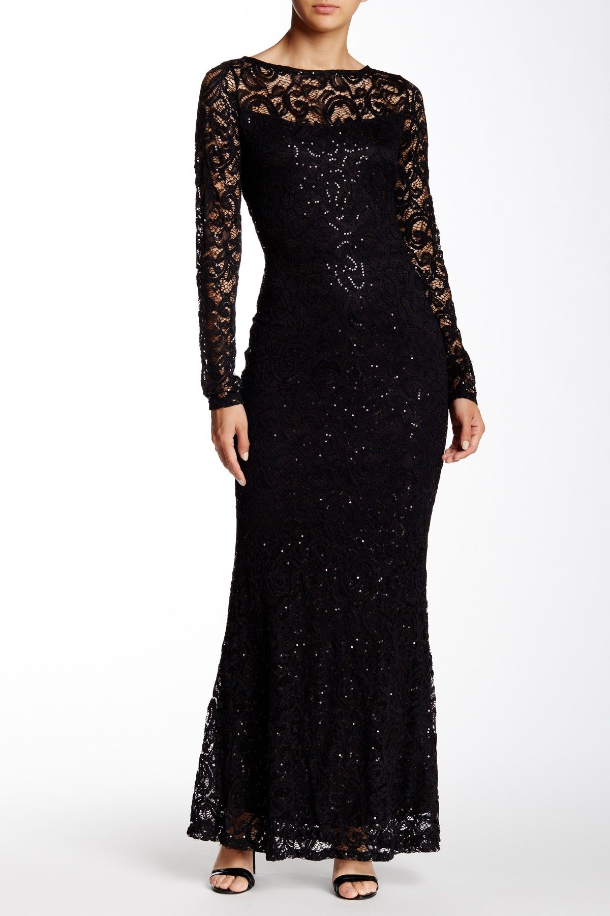 811a78215573 Marina - Long Sleeve Lace Gown at Nordstrom Rack. Free Shipping on orders  over $100.