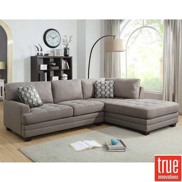 Tremendous True Innovations Grey Fabric Sofa Chaise With 2 Accent Creativecarmelina Interior Chair Design Creativecarmelinacom