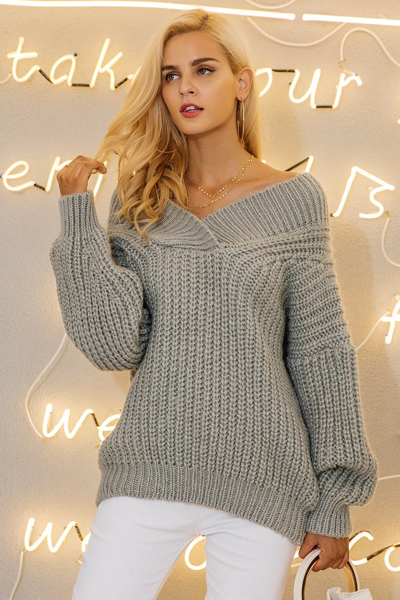 a3c77936e13 Winter warm v neck knitted sweater thick long sleeve pullover | Sexy ...
