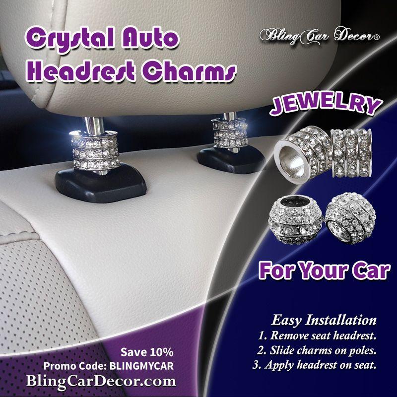 Crystal Auto Seat Headrest Collar Charms Car Decoration Accessory