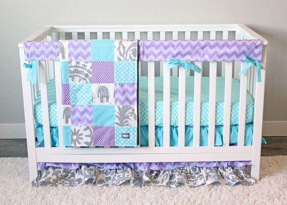 Lavender and Aqua Nursery, Lavender Crib Bedding, Elephant Nursery