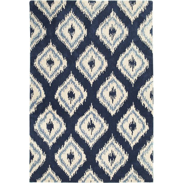 Pier 1 Imports Ikat Diamond Rug Found On Polyvore Featuring Home Rugs Navy Area Blue Pattern