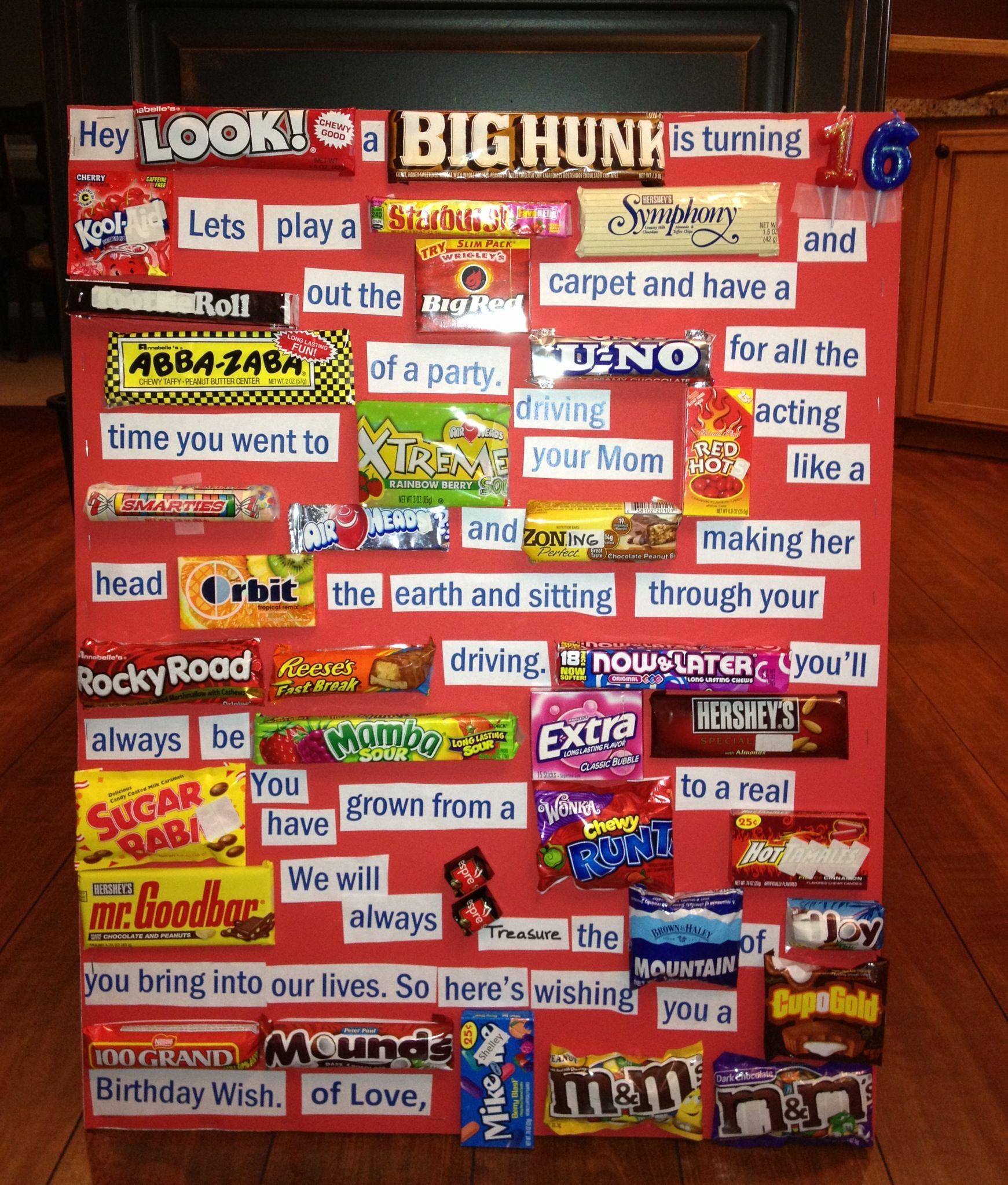 Candy Gram - Haydenu0027s 16th Birthday  sc 1 st  Pinterest & Candy Gram - Haydenu0027s 16th Birthday | CANDY GRAMS | Birthday candy ...