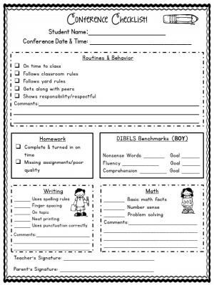 ParentTeacher Conference Forms Editable  Classroom Information