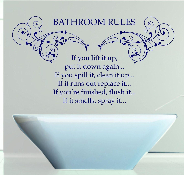 Bathroom Rules Quote Matt Vinyl Wall Art Sticker Decal Mural Cm - How do you put up wall art stickers