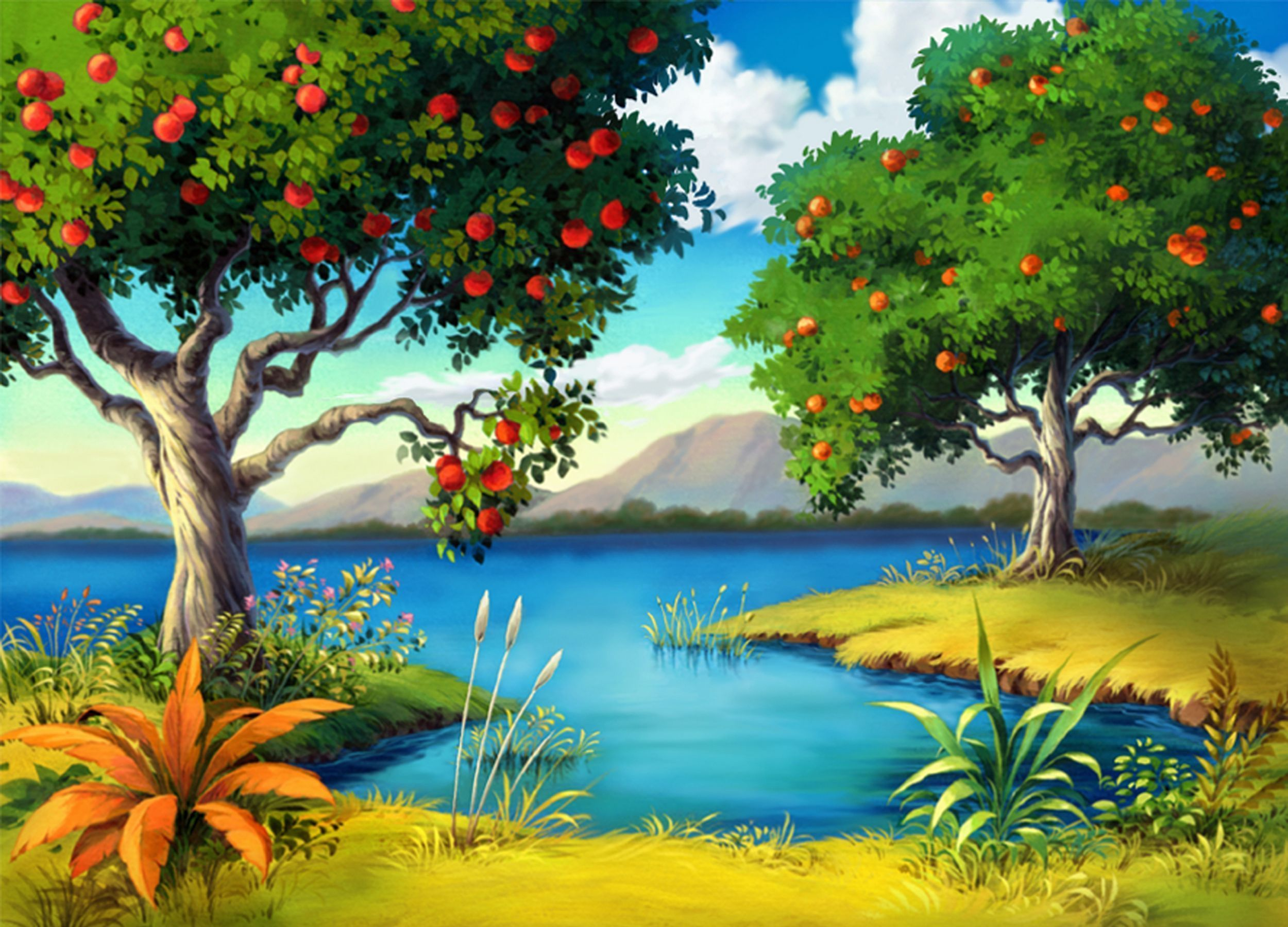 Pretty Lakes Colorful Colors Fantasy Flowers Grass Lake Pretty Sky Trees Hd Landscape Forest Wallpaper Episode Interactive Backgrounds
