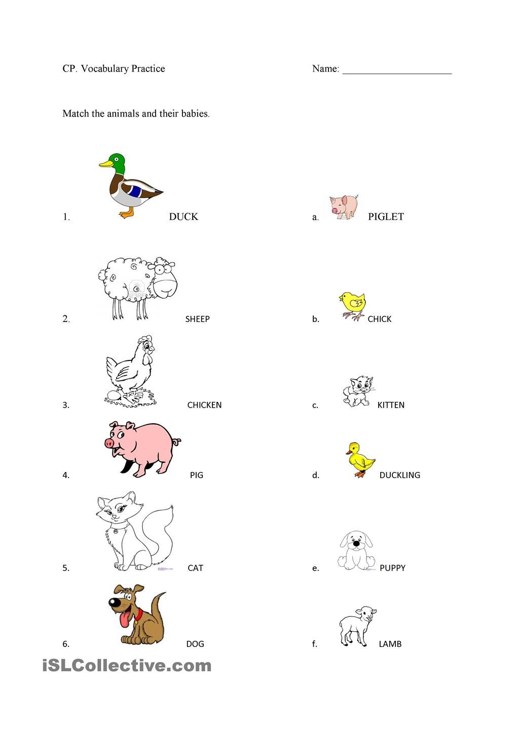 Farm Animals And Their Babies Animal Worksheets Baby Farm Animals Farm Animals Activities
