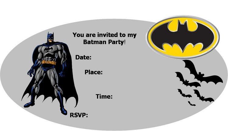 Batman Birthday Invitations Printable Free