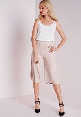 Faux Suede Culottes Nude
