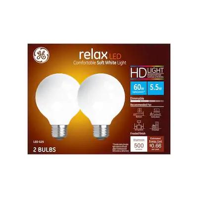 Ge Relax 60 Watt Eq G25 Soft White Dimmable Globe Light Bulb 2 Pack Lowes Com In 2020 Globe Light Bulbs Light Bulb Led Light Bulb
