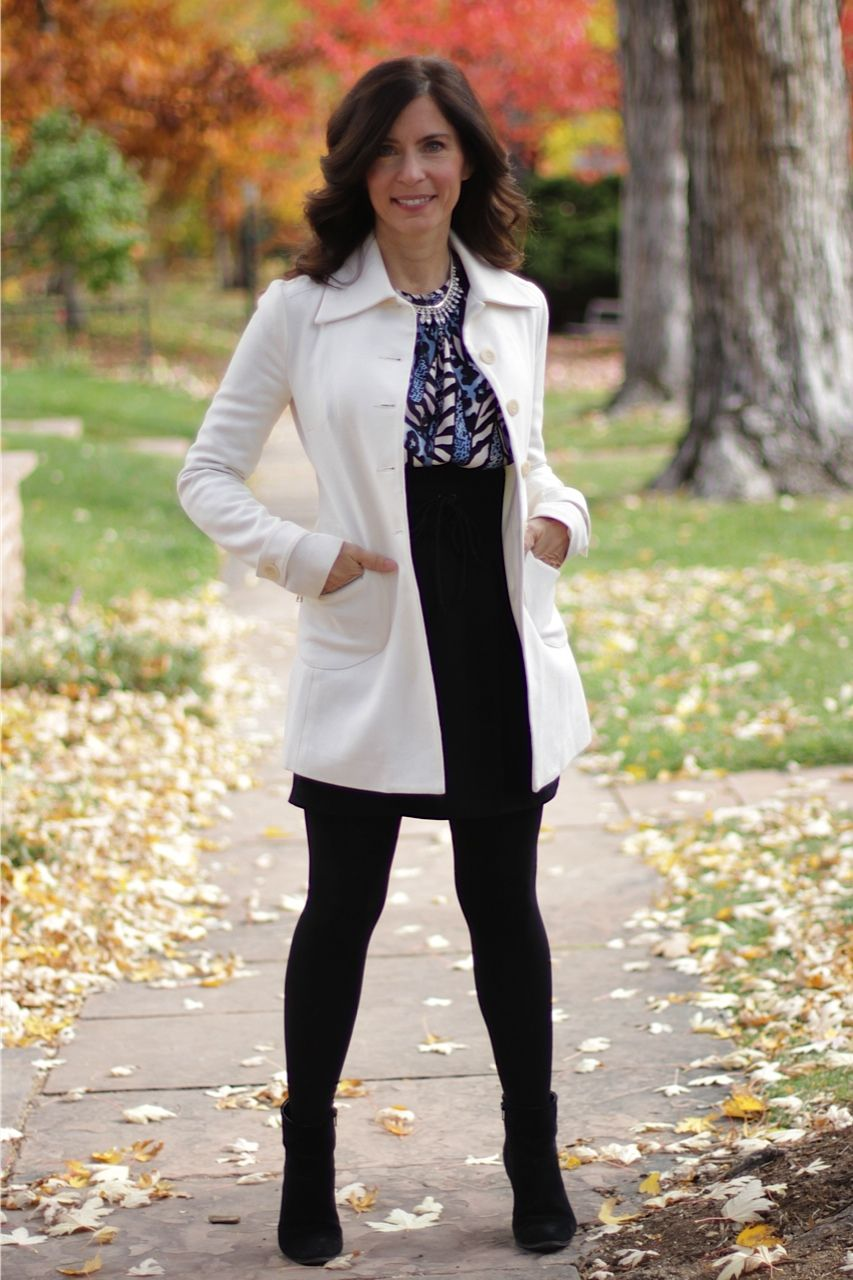 Fall business #madeinUSA outfit - black skirt, tights and booties