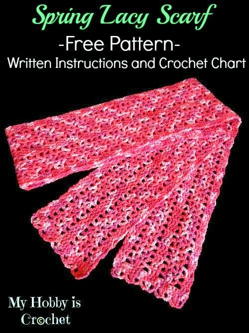 Lacy Crochet Scarf For Springfall Using V Stitch Free Pattern
