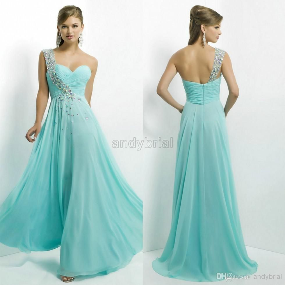 2015 Alluring Crystal Beaded One-Shoulder Prom Dresses Long Chiffon ...