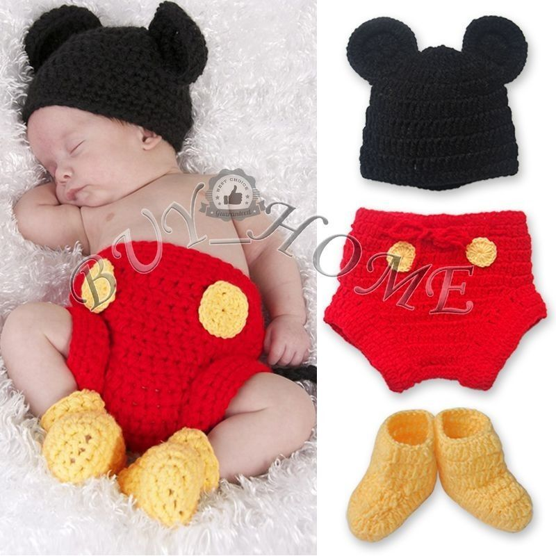 Handmade newborn baby boy mickey mouse crochet photo props outfit ...