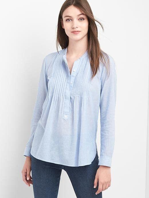 bb8368f806d81 Gap Stripe pintuck popover shirt