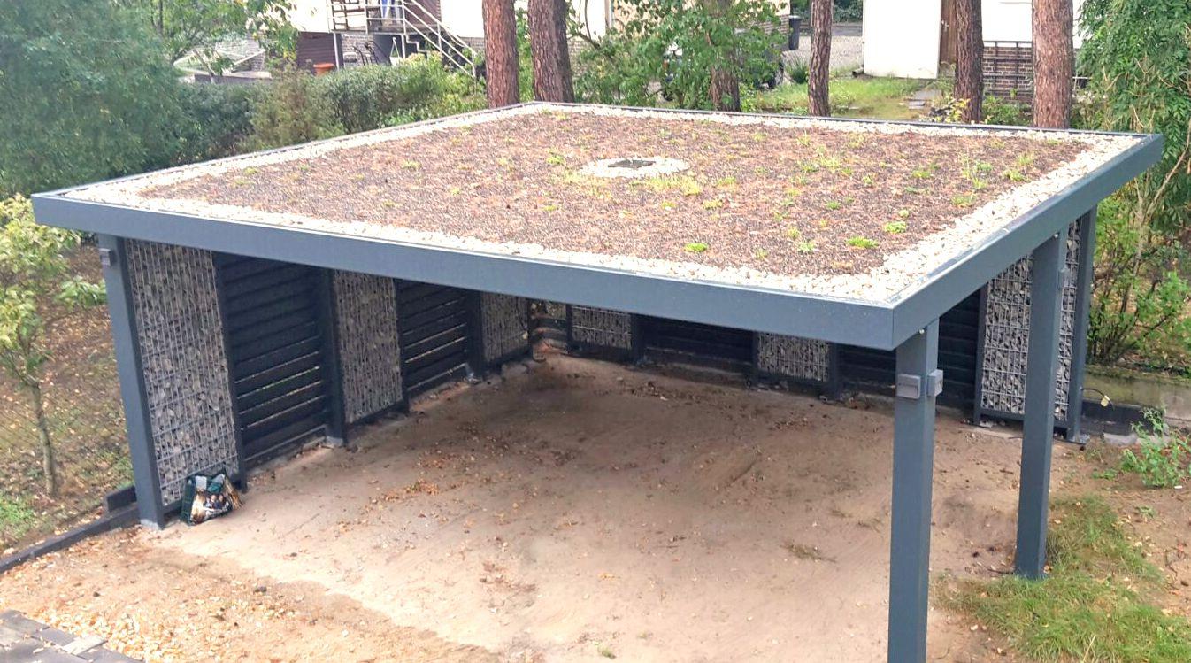 GabionenDoppelcarport mit geschlossener Rückwand, die Hausseite wird nur mit Stützpfosten ausgeführt is part of Carport garage -