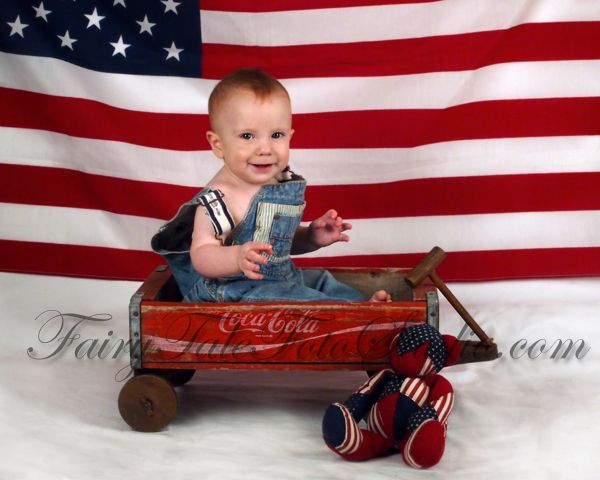 4th of july baby boy 8 months old in vintage coke wagon independence day americana usa