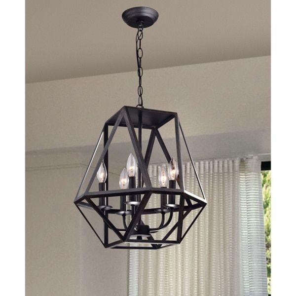 Joshua 5 light multangular iron chandelier in antique black joshua 5 light multangular iron chandelier in antique black 17762684 overstock great aloadofball Image collections