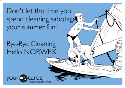 Don't let the time you spend cleaning sabotage your summer fun! Bye-Bye Cleaning Hello NORWEX!