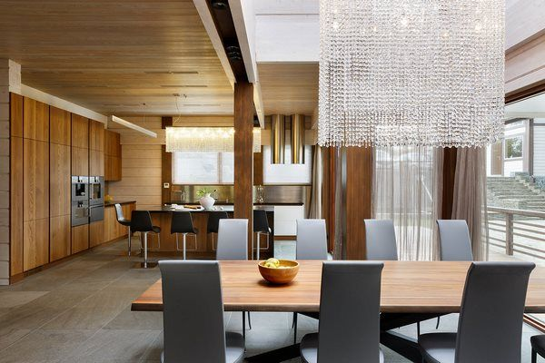 Modern Dining Room Design Wood Ceiling And Crystal Chandelier Gorgeous Dining Room Color Schemes 2018