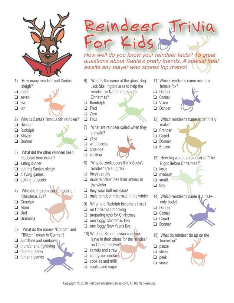 Christmas: Reindeer Trivia For Kids, $6.95 | Christmas Printable ...