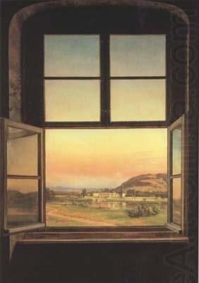 Johan Christian Dahl (1788–1857): Window with a view of Pillnitz ...