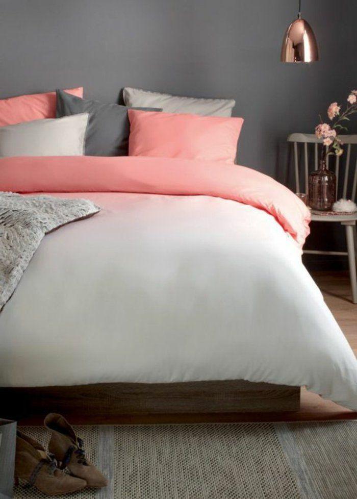 linge-de-lit-en-rose-gris-et-blanc-effet-ombré-tapis-gris-couleur ...