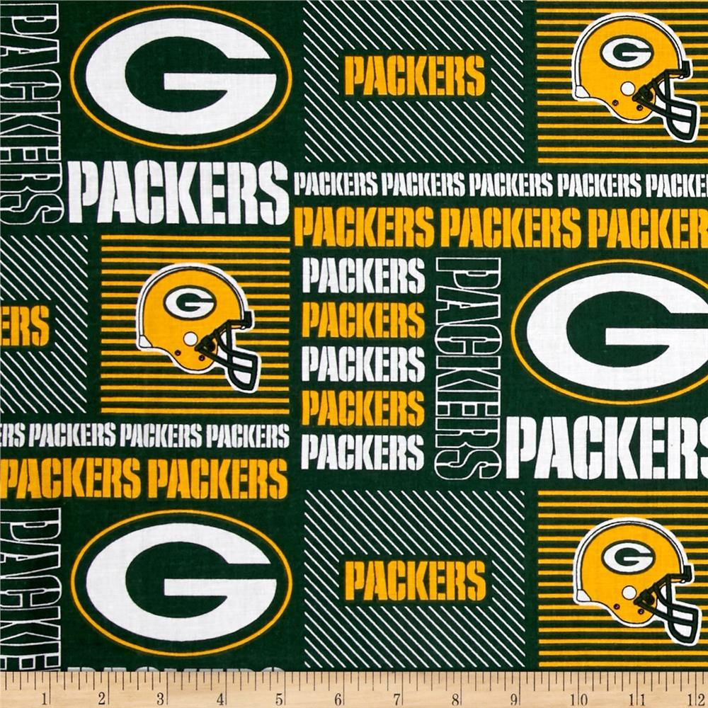 Nfl Cotton Broadcloth Greenbay Packers Patchwork Green Yellow Green Bay Green Bay Packers Novelty Fabric