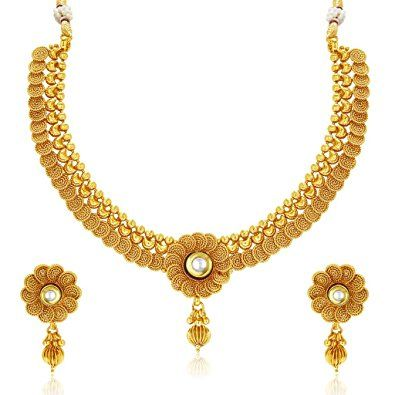 Sukkhi Eye-Catchy Jalebi Design Gold Plated Necklace Set For Women - Wedding Collection  sc 1 st  Pinterest & Pin by Best Jewelry (Jewellery) for Men \u0026 Women on Fashion Jewelry ...