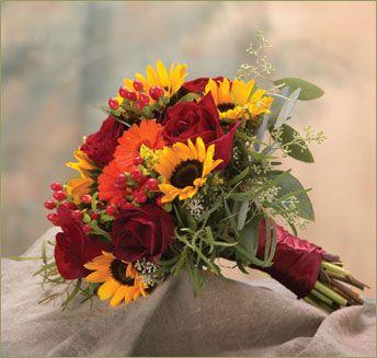 Fall wedding bouquet - Sunflowers, roses, daisy | Fall Wedding ...