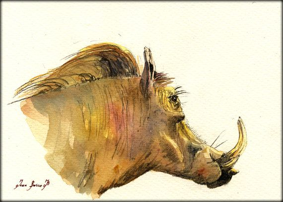 Warthog Abstract Watercolor Painting Art Print by Artist DJ Rogers