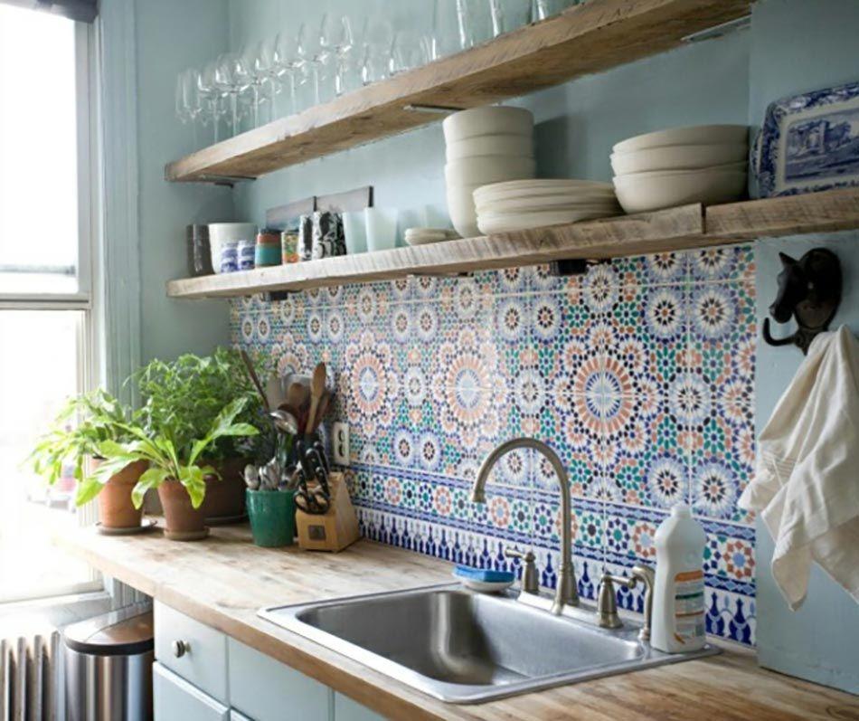Traditional kitchen backsplash with multicolored cement tiles #kitchenbacksplash