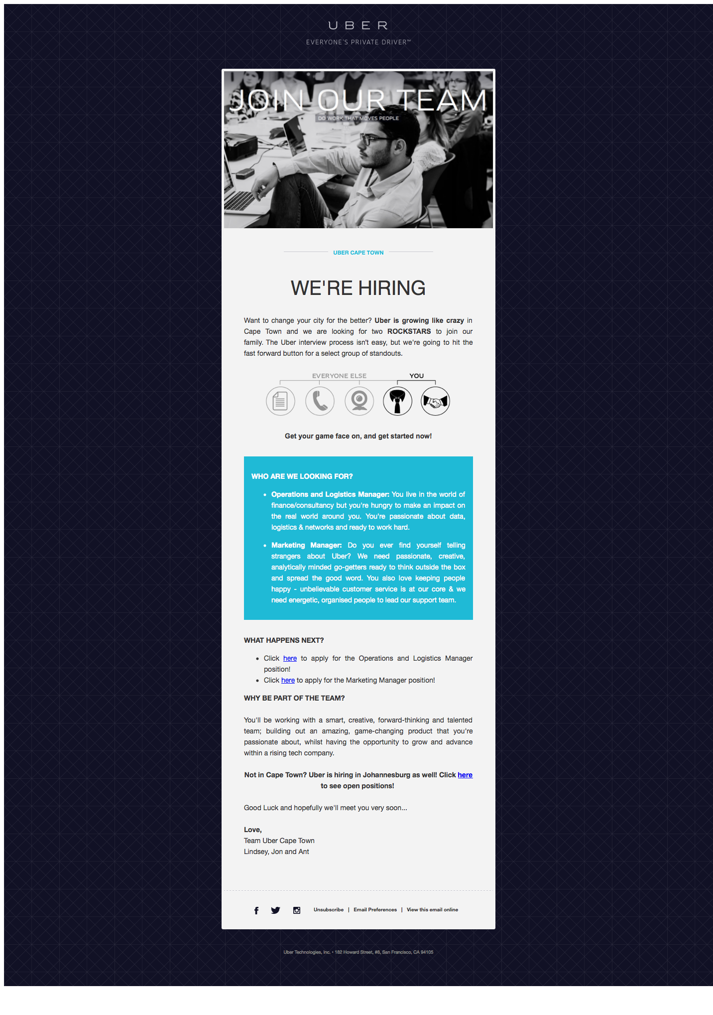 Email Marketing. Newsletter. Job offer email. #Uber ...
