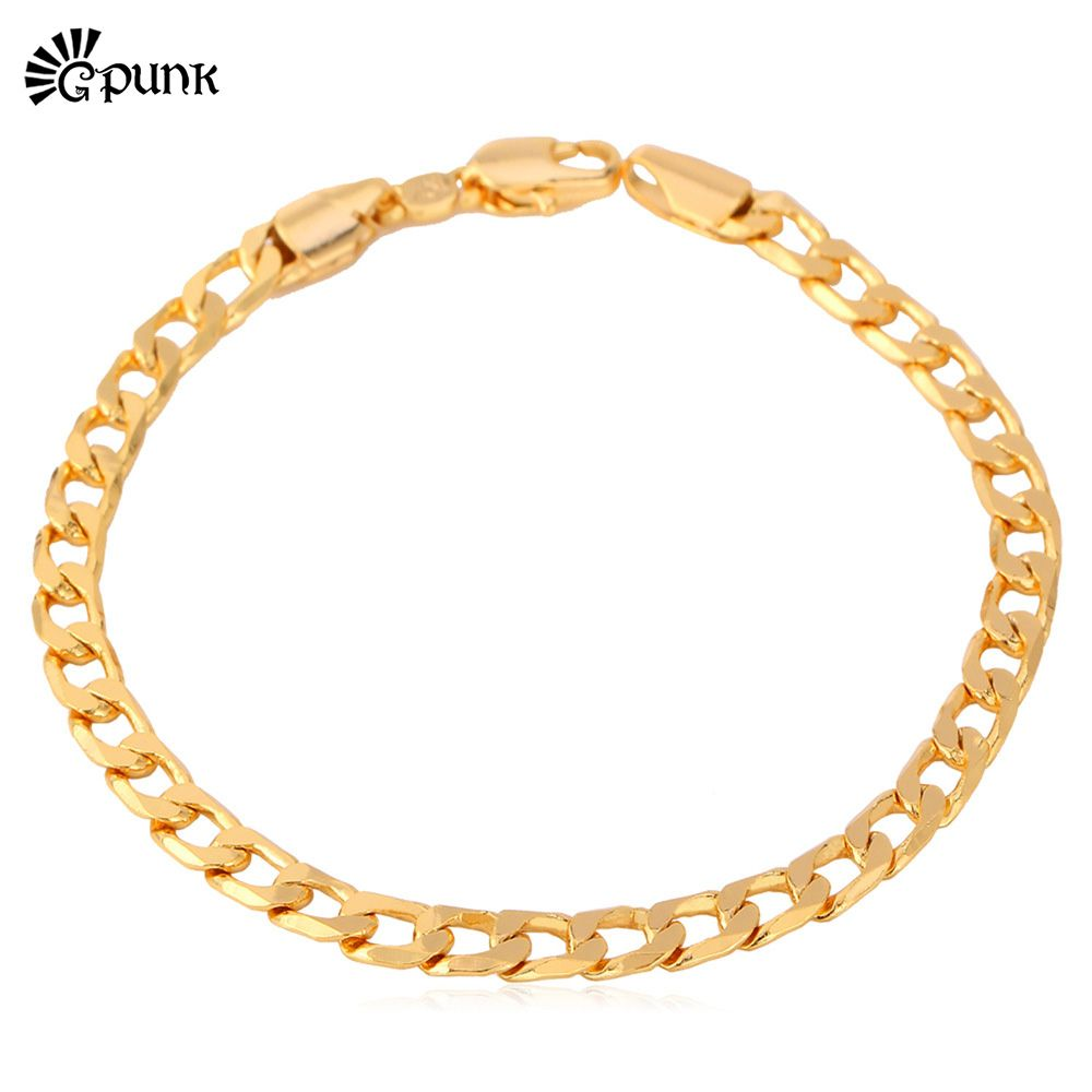 Click to buy ucuc rolo chain bracelet unisex jewelry rose gold color