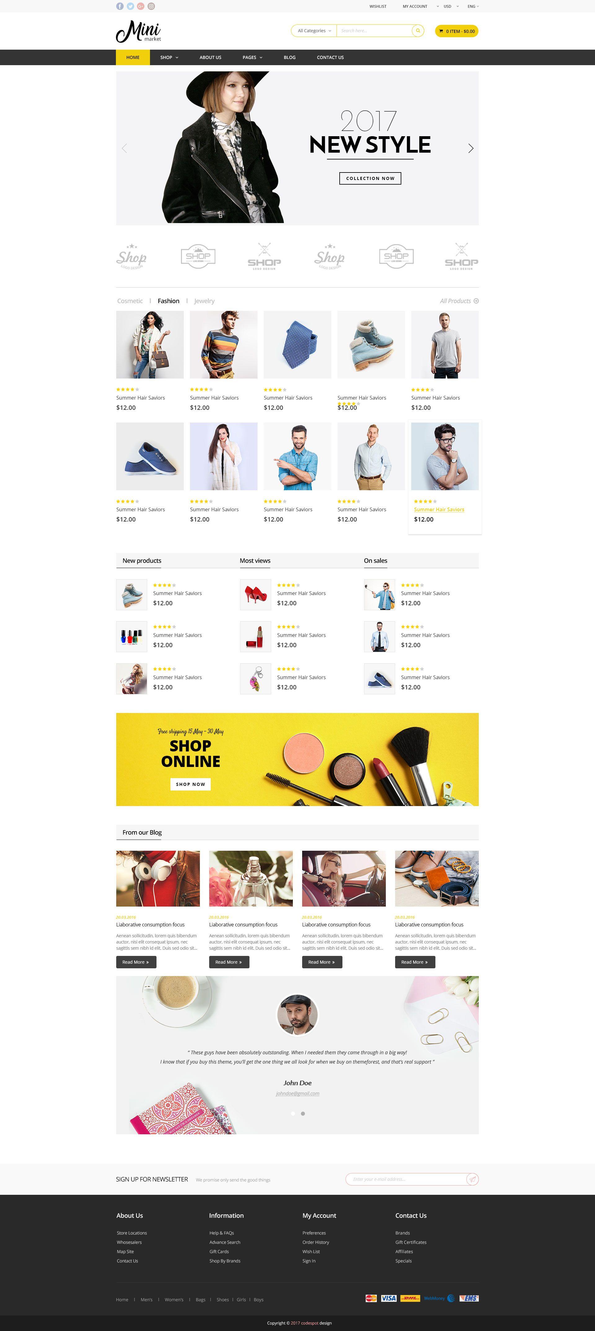 Minimarket Multi Purpose Supermarket Grocery Psd Template Kid