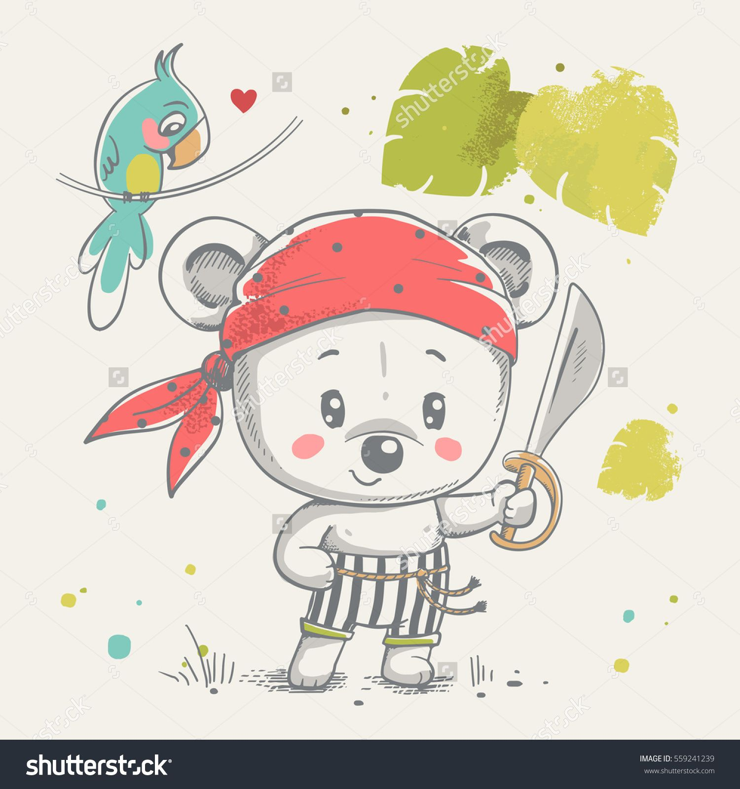 Cute little bear pirate cartoon hand drawn vector illustration cute little bear pirate cartoon hand drawn vector illustration can be used for baby t stopboris Gallery