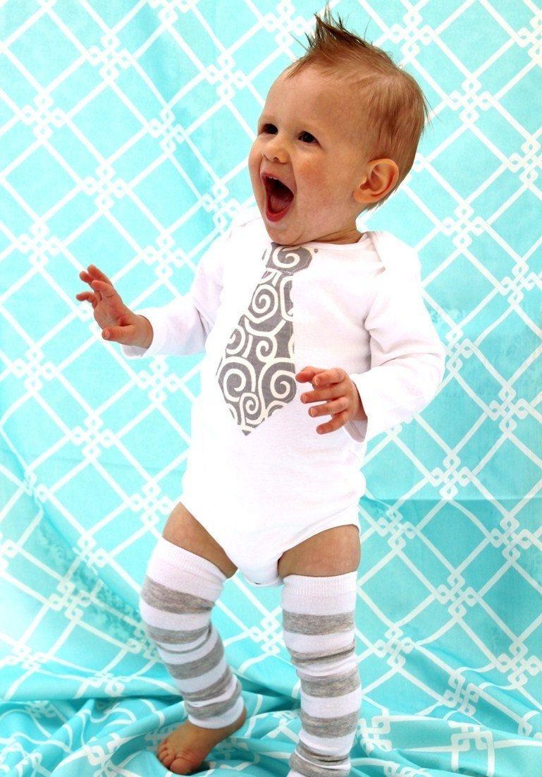 Baby Boy Necktie Tie Bodysuit. Wedding, Photo Prop. 1st Birthday ...