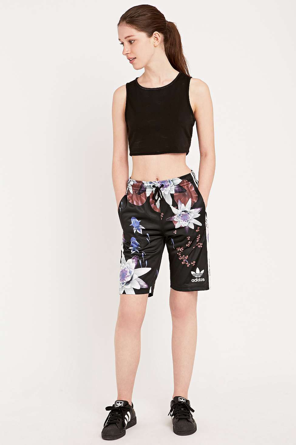 06db3e20ce3 adidas Originals Lotus Print Basketball Shorts in Black