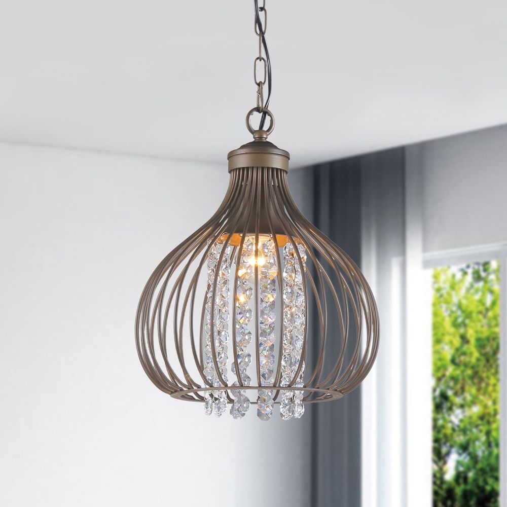 Quorum electra 8 light sputnik chandelier amp reviews wayfair - Marcela Antique Copper Crystal Bead Chandelier Free Shipping Today Overstock Com 16276261