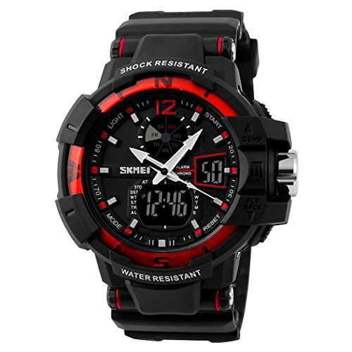 Fanmis Multi Function Waterproof Digital LCD Alarm Date Mens Military Sports LED Wrist Watches  Red -- See this great product.Note:It is affiliate link to Amazon.