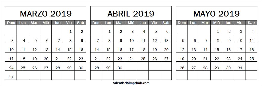 Calendario Abril Y Mayo 2019.Calendario Marzo Abril Y Mayo 2019 En Ingles March 2019 Calendar