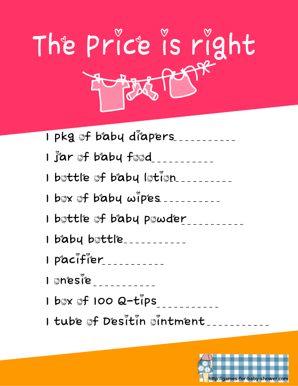 Monster image for the price is right baby shower game free printable