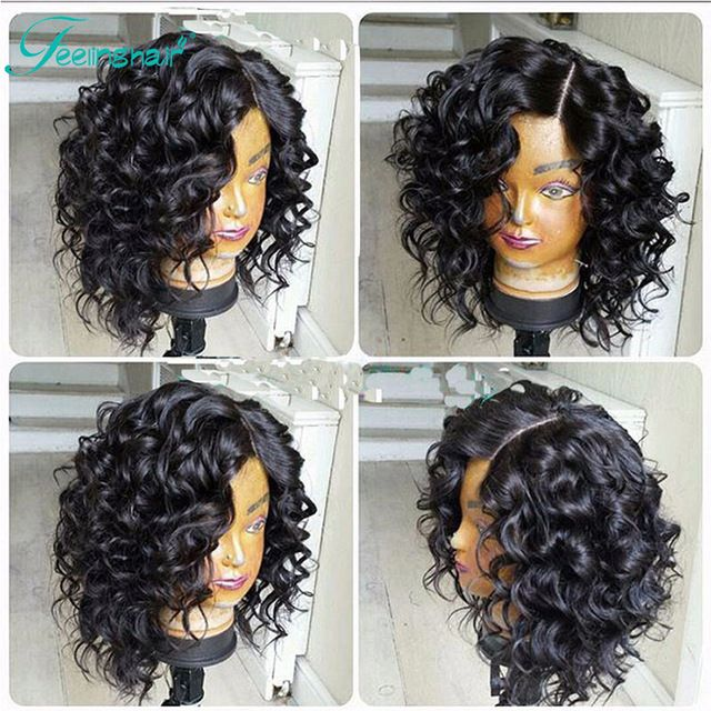 7a Curly Bob Wigs Glueless Full Lace Human Hair Wigs Short