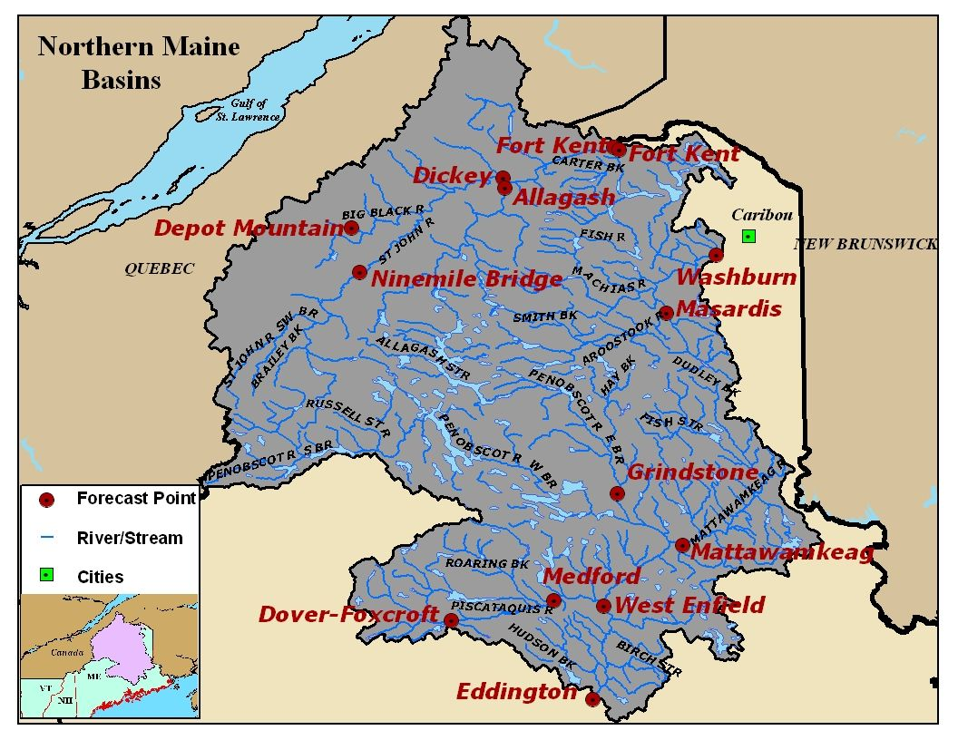 Map of the Northern Maine River Basins. Click on the image to go